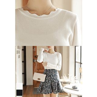 MyFiona - Scallop-Edge Slim-Fit Knit Top