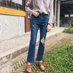 Jeans Kingdom - Ripped Boot Cut  Jeans