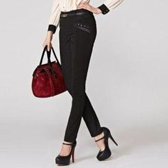 O.SA - Jeweled Slim-Fit Pants