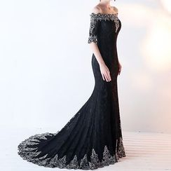 Royal Style - Off-Shoulder Lace Mermaid Evening Gown with Train