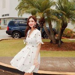 Cherryville - V-Neck Floral A-Line Dress with Sash