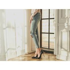 UUZONE - Mesh-Layered Skinny Jeans