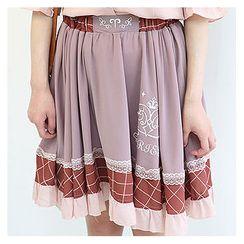 Sechuna - Lace-Trim Printed Flare Skirt