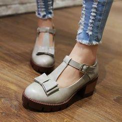 Shoes Galore - Bow T-Strap Pumps