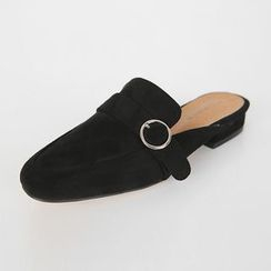 DABAGIRL - Backless Buckled Faux-Suede Loafers