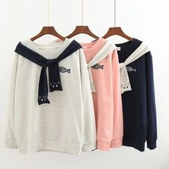 Musume - Long-Sleeve Tie-Neck Embroidery Top