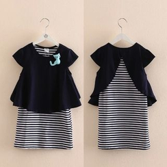 Seashells Kids - Kids Cat Mock Two-Piece Striped Dress