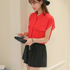 Bornite - Stand Collar Short-Sleeve Chiffon Blouse
