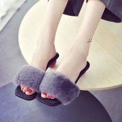Yoflap - Faux Fur Trim Heel Slide Sandals