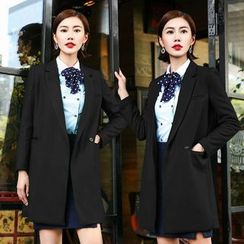 Aision - Wool Blend Coat / Blouse / Skirt