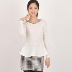 lovemark - Set: Sequined Peplum Top + Check Mini Skirt