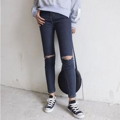IndiGirl - 做旧修身牛仔裤