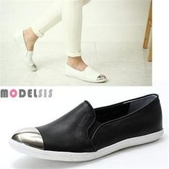 MODELSIS - Metallic Toe Genuine Sheepskin Slip-Ons