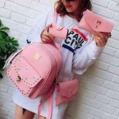 Denyard - Set Of 4: Faux-Leather Backpack + Cross Bag + Wristlet + Card Holder