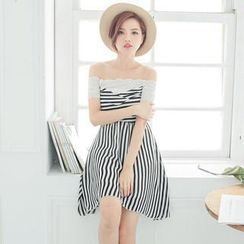 Tokyo Fashion - Lace Off-Shoulder Striped Dress