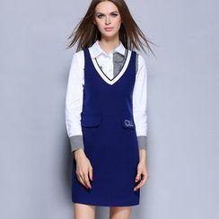 Rosesong - Set: Striped Long-Sleeve Shirt + V-Neck Pinafore Dress