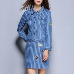 Rosesong - Set: Striped Denim Jacket + Striped Skirt