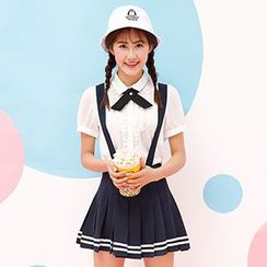 NiFFe - Contrast-Stripe Pleated Jumper Skirt