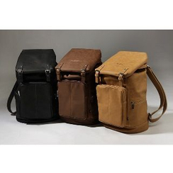 Asphalt - Faux-Leather Buckled Backpack