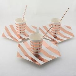 Palmy Parties - Set: Disposable Plates + Cups + Paper Drinking Straws