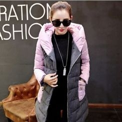Romantica - Color-Block Hooded Padded Zip Coat