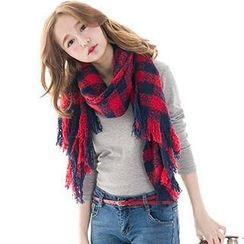 CatWorld - Check Fringed Scarf