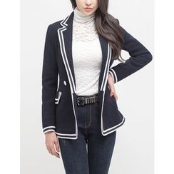 GUMZZI - Double-Breasted Contrast-Trim Jacket