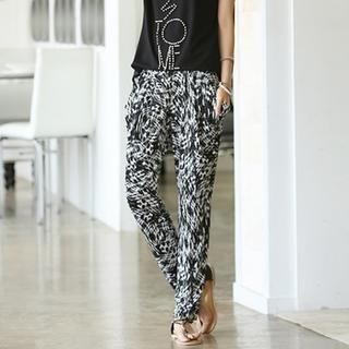 Styleonme - Band Waist Printed Baggy Pants