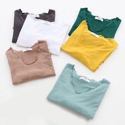 Meimei - Plain V-Neck Short-Sleeve T-Shirt