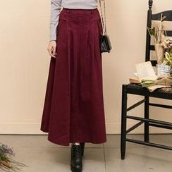 Lucky Leaf - Pleated Washed Denim Maxi Skirt