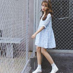 CosmoCorner - Print Short Sleeve Loose-Fit Dress