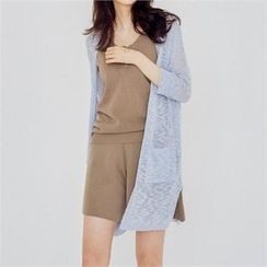 MAGJAY - Open-Front Dual-Pocket Cardigan