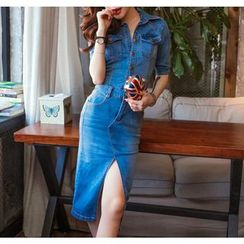 Tang House - Slit-Front Denim Shirtdress