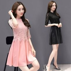 Sienne - Elbow-Sleeve Lace Panel Pleated A-line Dress