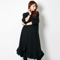 FASHION DIVA - Frill-Hem Brushed-Fleece Lined Midi Dress