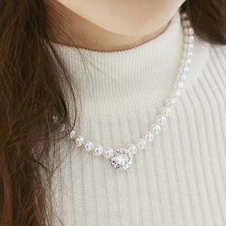 soo n soo - Crystal Glass Charm Beads Necklace