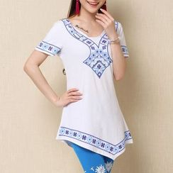 Diosa - Short-Sleeve Patterned Tunic