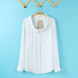 Flower Idea - Long-Sleeve Chiffon Blouse