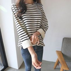 Hello sweety - Cuffed-Sleeve Stripe T-Shirt