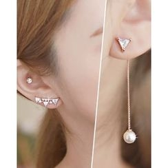 Miss21 Korea - Rhinestone Faux-Pearl Asymmetric Earrings