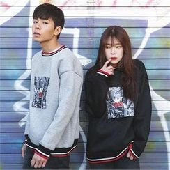 Superstar.i - Couple Contrast-Trim Printed Sweatshirt