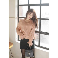 MyFiona - V-Neck Pointelle-Knit Top