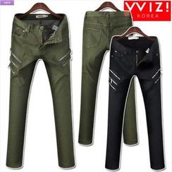WIZIKOREA - Zip-Detail Jeans