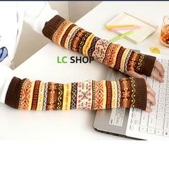 Lazy Corner - Patterned Knit Arm Warmers