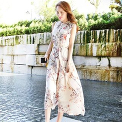Fancy Show - Sleeveless Floral Chiffon Dress