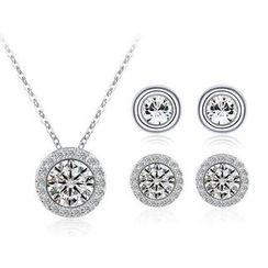 伊泰莲娜 - 套装: 施华洛世奇元素水晶项链 + 2对耳钉