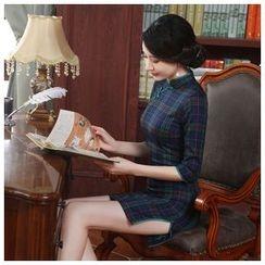Janelle Qipao - Elbow-Sleeve Plaid Qipao