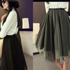 Calana - Mesh A-Line Midi Skirt