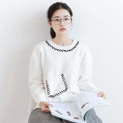 Forest Girl - Contrast Stitching Sweater