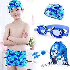 Mermaid's Tale - Kids Shark-Print Swim Shorts with Swim Cap